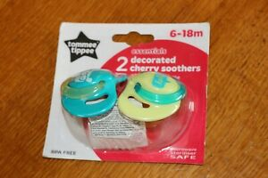 2-Tommee-Tippee-Soothers-Decorated-Cherry-Dummy-Dummies-6-18-Months-BNIP-Tommy