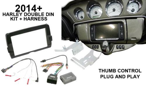Double DIN Radio Dash Kit W// Thumb Control Interface for 14-17 Harley Davidson