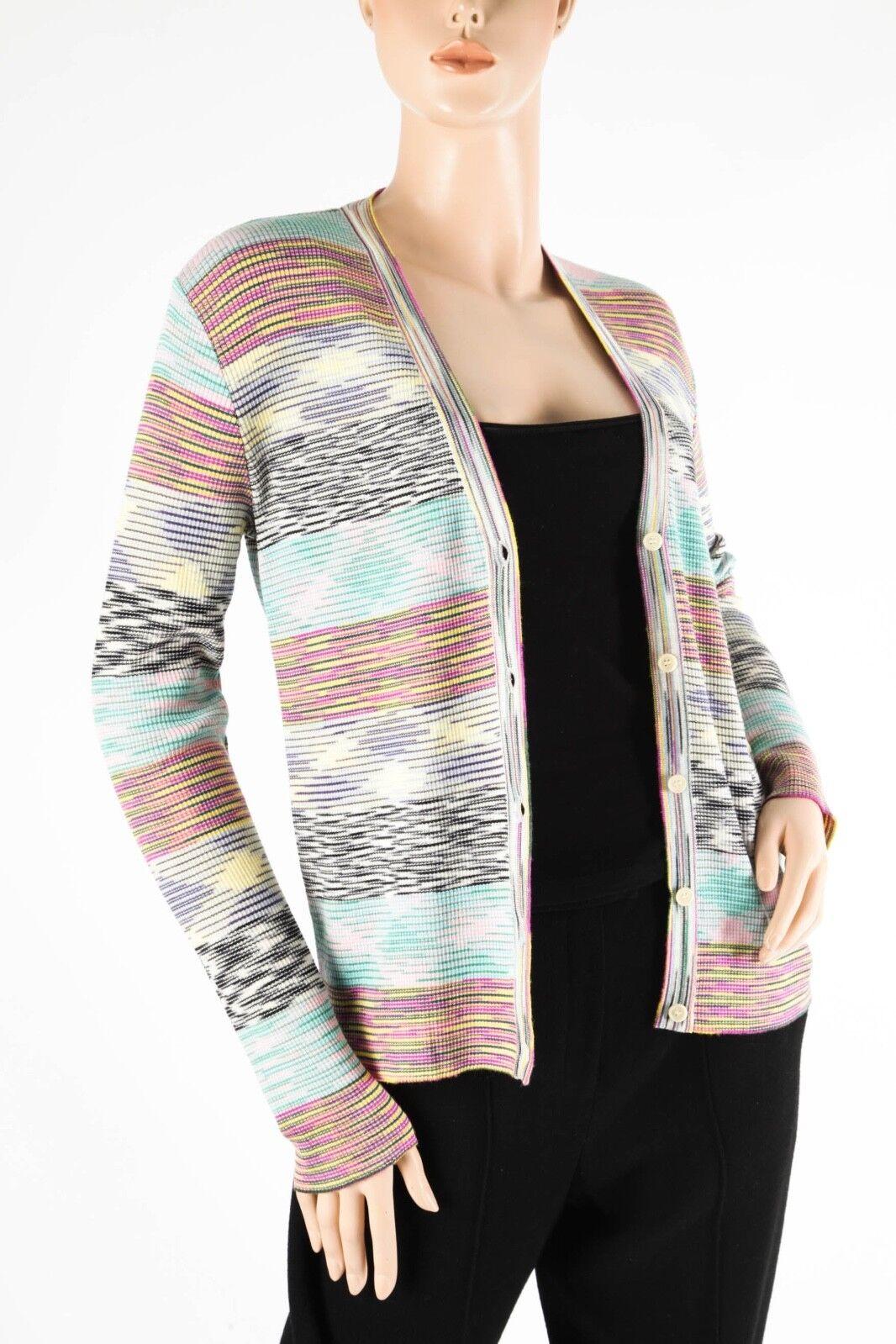 MISSONI – Classic Merino Wool Multi-color Multi-color Multi-color Stripped Cardigan – Size 12 5d8949