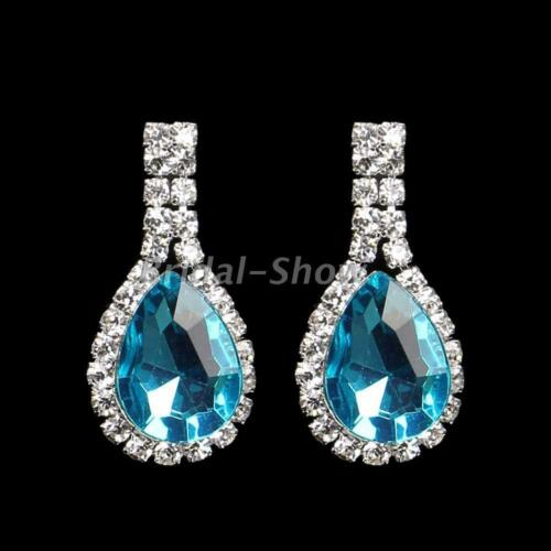 Diamante Women Bridal Rhinestone Crystal Water Drop Stud Earrings Wedding Gift