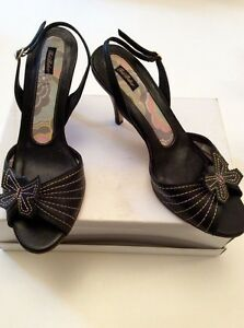Ted Black Slingback Sandals Butterfly Heeled 38 Baker Trim 5 Size qwgaOqAU