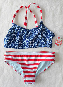 Mädchen 👣 Bikini Badeanzug 👣 2tlg 👣 blau-rot 👣 STERNE 👣 164/170 👣 NEU