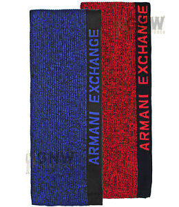19cc5c32f9b ARMANI EXCHANGE KNITTED SCARF  SIREN  BLUE  RED ONE SIZE Was £55.00 ...