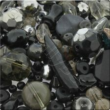250g (Qtr Kilo) of Mixed Glass Crystal and Faceted Beads - Black