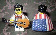 NEW Authentic Lego ELVIS PRESLEY Minifigure, Acoustic Guitar, American Flag Cape