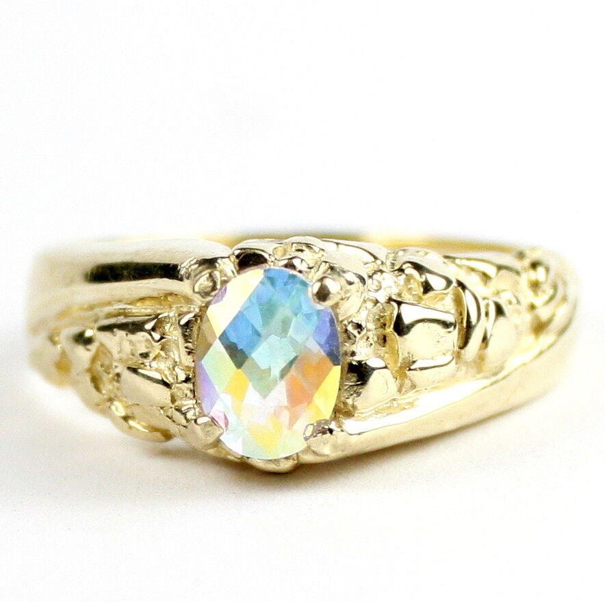 Mercury Mist Topaz, Solid 10K or 14K gold Ring, R368-Handmade