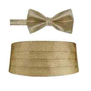 02221113e29d Mens Gold Metallic Pre tied Bow tie and Matching Adjustable ...