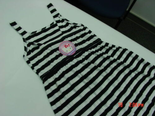 NWT Girls Hello Kitty Maxi Dress Striped Black White Summer Glitter Peace Love