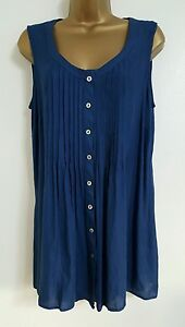 NEW-Ex-M-amp-Co-ANYA-MADSEN-Plus-Size-16-30-Blue-Pleated-Sleeveless-Tunic-Top-Blouse