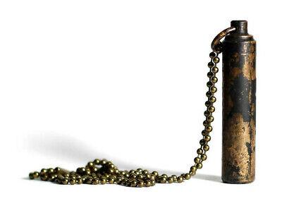 DISTRESSED GOLD BRASS VIAL CAPSULE SCREW STASH BULLET PENDANT NECKLACE URN EDC