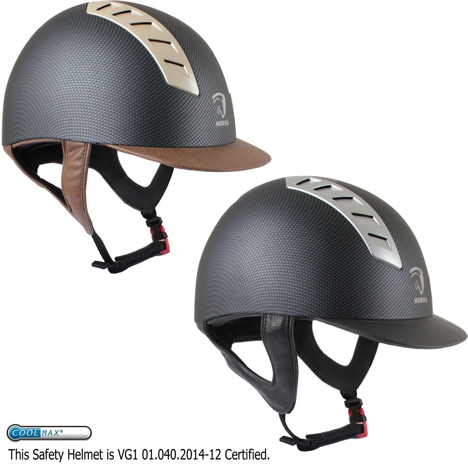 Horka Equestrian Arrow Carbon Finish Breathable Rider Competition Safety Helmet