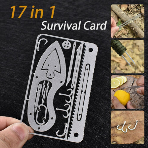 17 In 1 Fishing Gear Card Multi-Tool Camping Survival Tools Hunting Surviva E7