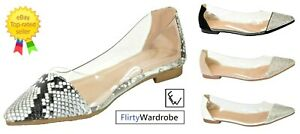 Ballerina-Dolly-Pumps-Flat-Clear-Diamante-Comfy-Party-Shoes-Size-Womens-Ladies