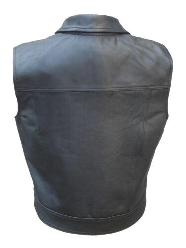 OFF Black Cowhide Leather Motorbike Motorcycle Waistcoat CUT