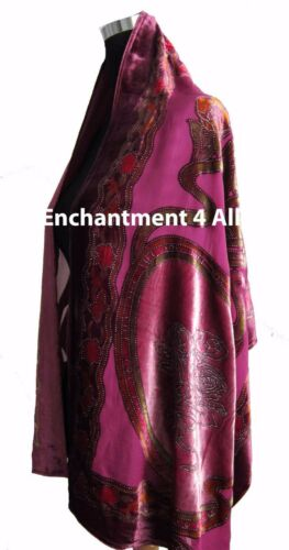 Pink Elegant 100/% Silk Burnout Velvet Circle Art Oblong Scarf Wrap