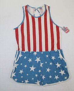 e1d497861670 Junk Food American Flag Romper Elastic Waist Women s Size 2XL Red ...
