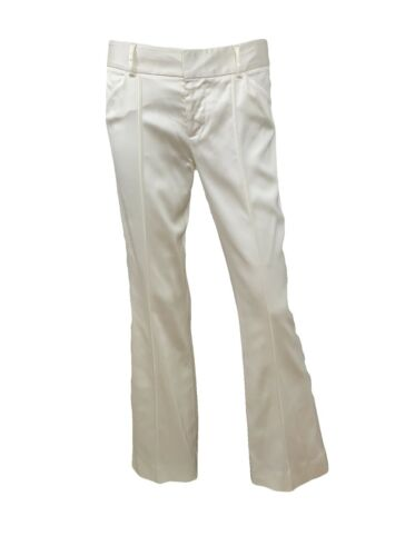Alice and Olivia Ivory Bisque Satin Pants Low Rise