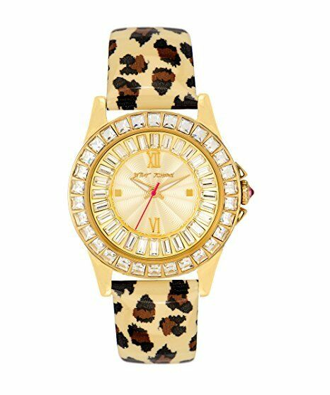 d217521b0b4d Betsey Johnson Bj00004-02 Gold Dial Leopard Print Leather Strap Women s  Watch for sale online