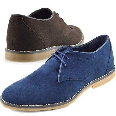 Mens Formal Office Party Brown Faux Suede Lace Up Shoes Erfrischend Und Wohltuend FüR Die Augen