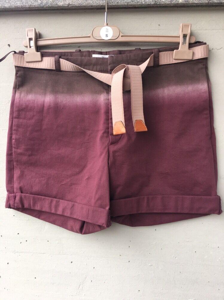 NWOT Auth PRADA Lilic Stretch Cotton Shorts With Beige Belt It Sz 44 Us Sz 8