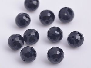 20pcs10mm-96-Faceted-Round-Findings-Crystal-Glass-Charm-Loose-Spacer-Beads-Black