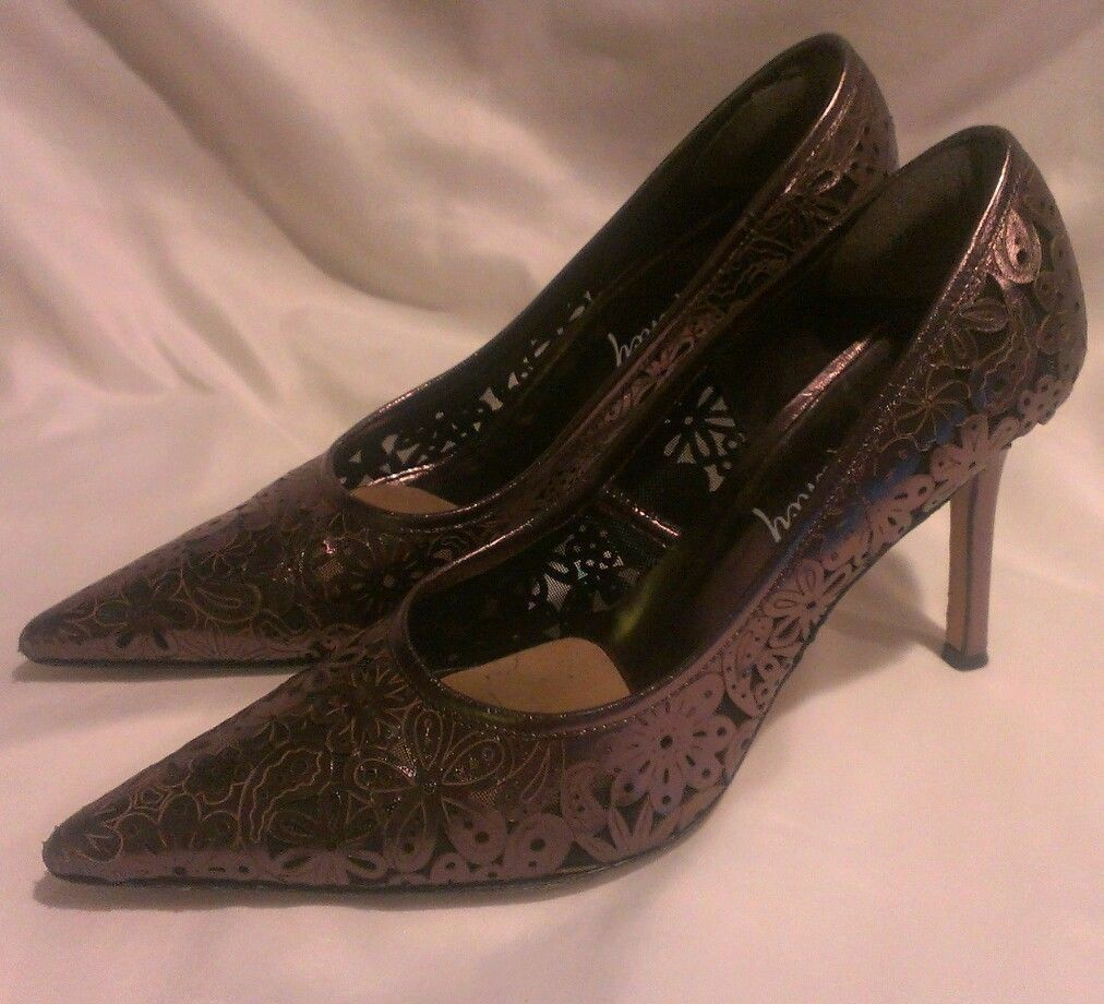 Will's Fancy Pink Silver Floral Cut Out Classics Pumps Heels 8 1 2 B