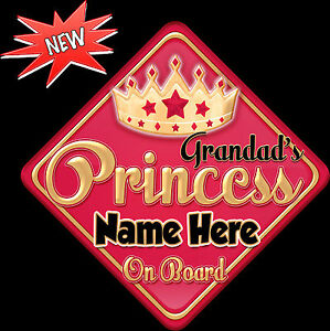 Personalised-Grandad-039-s-Princess-Red-gold-Baby-child-on-Board-Car-Window-Sign