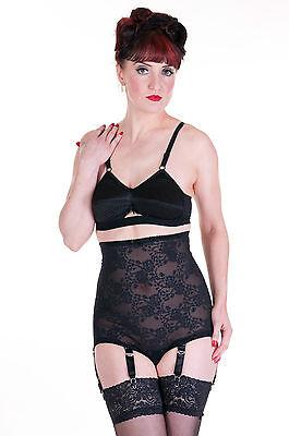 092 Revival Lingerie Black Lace Pantie Panty Girdle, 6 straps, sizes S-3XL