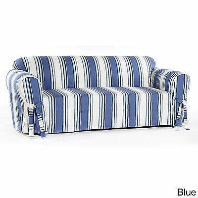 Blue Stripe All Cotton Sofa/Couch/Loveseat/Arm Chair Slipcover | eBay