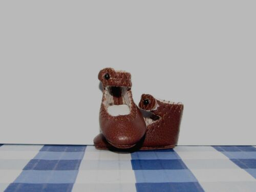 Real Leather Shoes For Antique or Reproduction BLEUETTE Doll 37mm DARK BROWN