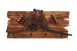 Grizzly-Bear-With-Shut-Gun-Wood-Carving-Wall-Hook-Cabin-Rustic-Decor