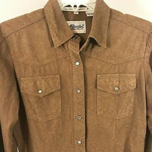 Cowgirl-Hardware-Women-039-s-Western-Shirt-Small-Brown-Pearl-Snap-Front-polyester