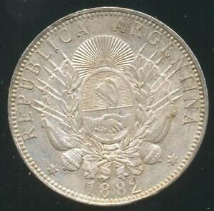 Argentina Silver Coin 1 One Peso Quot Patacon Quot 1882 Crown