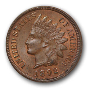 1892 P Indian Head Cent Penny  *AU ABOUT UNCIRCULATED*   **FREE SHIPPING**