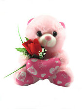 Tickles Pink Teddy With Rose and Heart Stuffed Soft Teddy Bear 18 cm ST013