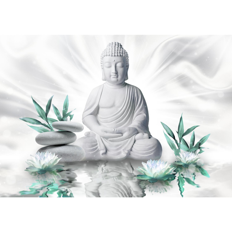 Fototapeten Tapete Fototapete Vlies Buddha Blumen Bilder XXL 3D Optik Wohnzimmer