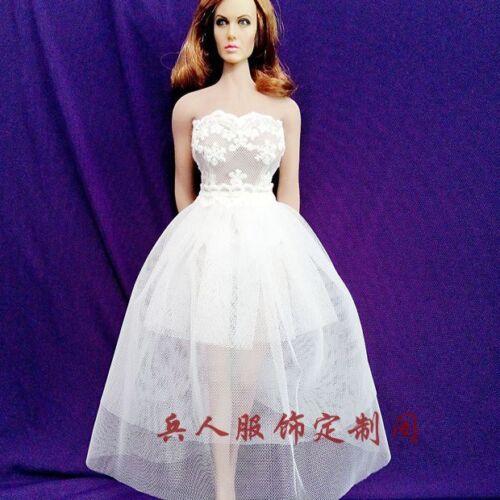 "Custom 1:6 Figure White Dress F 12/"" Phicen Female Middle Bust Seamless Body Doll"