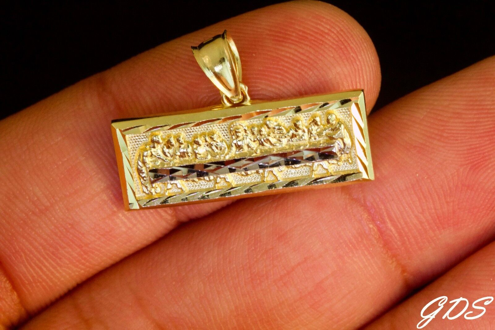 Real Genuine 10K Yellow gold TWO TONE D C RECTANGLE LAST SUPPER Pendant Charm