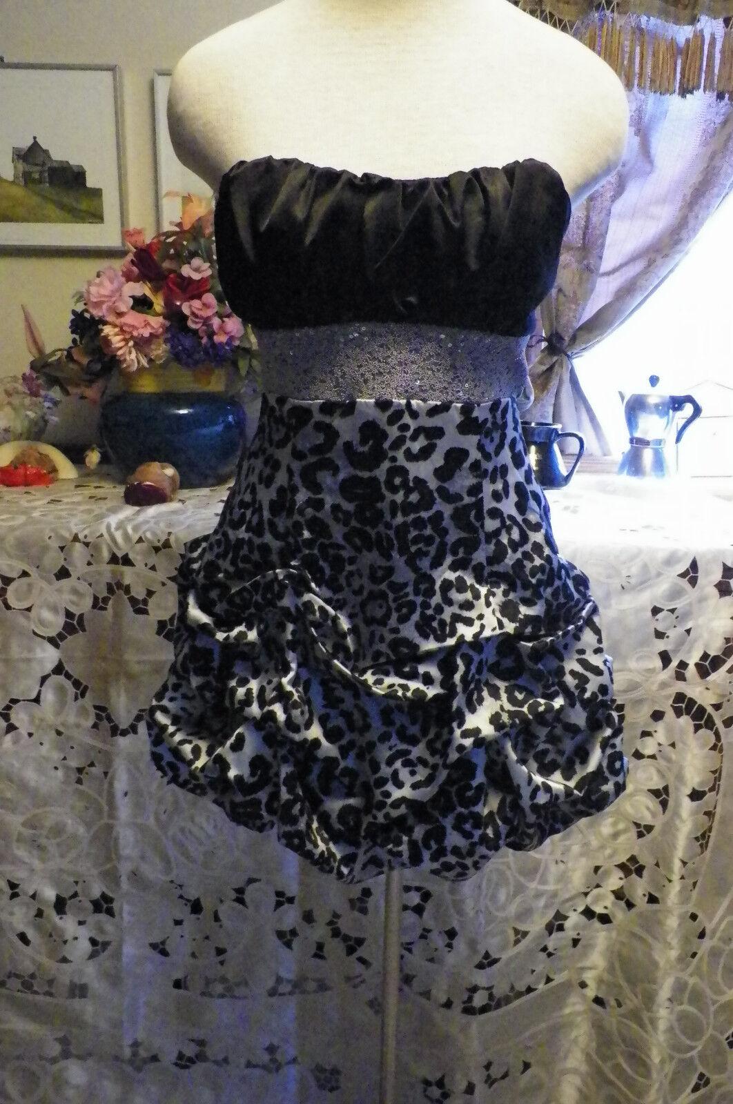 Deb black & grey leopard print jacquard satin cocktail evening dress 7