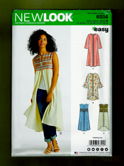 EASY Duster & Vest Sewing Pattern~Sleeve Variations (Sizes XS-XL) New Look 6514