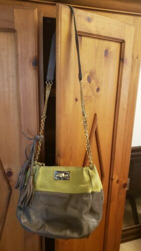 Auth Chloe Gray Lime Green Leather & Suede Gold Ha
