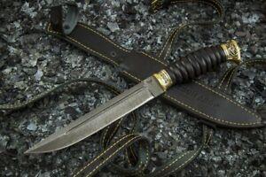 Russia Cossack Hunting Knife Plastun Damascus Steel Hornbeam Brass Handmade
