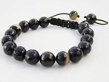 Men's Shamballa bracelet all 10mm  NATURAL BLACK COFFE AGATE beads