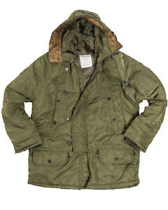 Olive-N3B-Parka-US-Military-Style-Long-Hooded-Polar-Jacket-Cold-Weather-Coat