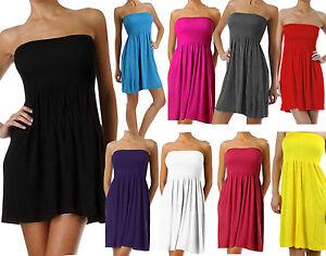 Women&amp--039-s Summer Tube Top Mini Dress - eBay