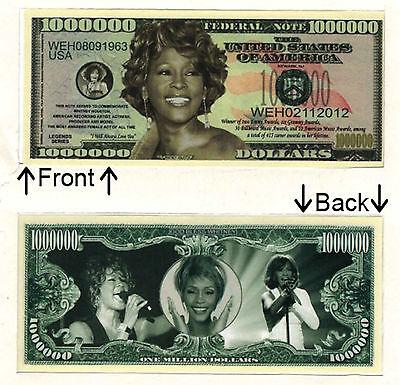 Whitney Houston One Million Dollars Novelty Bill Notes 1 5 25 50 100 500 or 1000