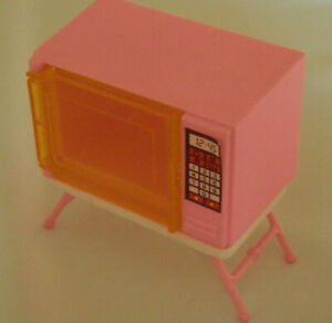 Barbie-Dreamhouse-Microwave-Pink-Vintage-1988-with-Stand-by-Arco-3-034
