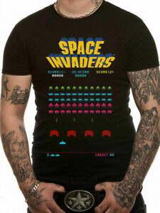 Space-Invaders-Arcade-T-Shirt-OFFICIAL-8-Bit-Retro-Taito-Atari-Video-Game-SMLXL