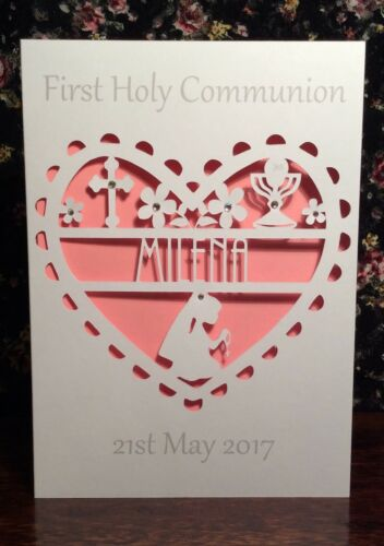 Personalised First Communion Card Handmade Daughter Granddaughter Goddaughter