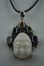 Bone Carving  Buddha Gesicht  Sterling Silber  Edelsteine